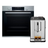 Bosch HBA5780S6B Serie | 6 Built-in Oven (71L) + Bosch TIS30321RW Fully Automated Coffee Machine