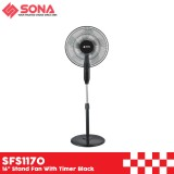 """Sona SFS1170 16"""" Stand Fan With Timer Black"""